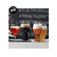 Four Pack of Craft Beer Tasting kit, IPA, Stout, Wheat, Stemmed Pilsner Glasses, Spiegelau
