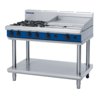 Blue Seal G518B-LS Gas 4 Hobs And 600mm Grill Plate On Leg Stand - 1200mm Wide