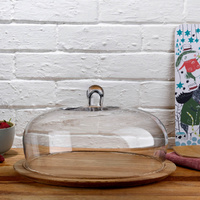 Glass Cake Dome 340mm with Wooden Base, Nude