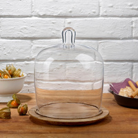 Glass Cake Dome 203mm with Wooden Base, Nude