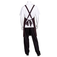 Cross Back Bib Apron Black with Red Pin Stripe and Twin Patch Pockets - F35-BRZ