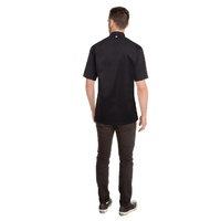 Cannes Chefs Jacket S/S Black Large with Hidden Metal Snaps - SSSN-BLK