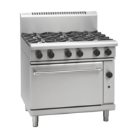 WALDORF LOW PROFILE GAS RANGE SIX OPEN BURNERS WITH GAS STATIC OVEN UNDER 900wide X 805 Deep X 972mm