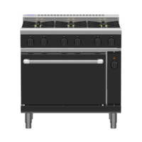 WALDORF LOW PROFILE GAS RANGE SIX OPEN BURNERS WITH ELECTRIC CONVECTION OVEN UNDER 900wide X 805 Deep X 972mm High