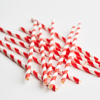 Straight Paper Straw Red/White Stripe (Pkt 250) Green Bean