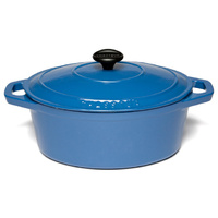 270mm Cast Iron Oval French Oven (3.6Ltr) Sky Blue- Chasseur