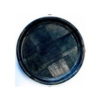 Black Woven Wood Round Tray