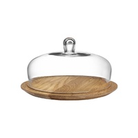Glass Cake Dome 279mm with Wooden Base, Nude