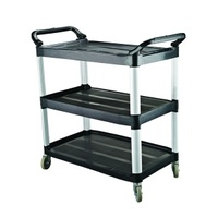 3 Tier Trolley Caterrex Black Plastic  -  1020 x 500 x 960mm