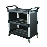 3 Tier Trolley with Closed sides, Caterrax Black Plastic - 1020 x 500 x 960mm