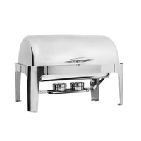 Deluxe Stainless Steel Roll Top Chafer with stacking frame, complete with: 1 x 1/1 Size 65mm Insert Pan 1 x Water Pan 1 x Cover 1 x Stand 2 x Fuel Hol