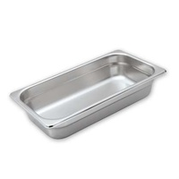 1/3 Size 150mm Deep Stainless Steel Steam Pan - Anti Jam