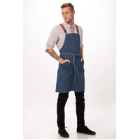 Berkeley Bib Apron Medium/Blue with Cross Over Back