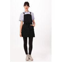 Berkeley Petite Bib Apron Jet/Black Cotton with Cross Over Back Suspenders Black/Grey (XNS02-BGY) included