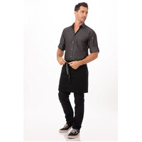Berkeley Half Waist Apron Jet/Black Cotton with Black/Grey tie