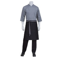 Black Wide 1/2 Half Apron With Contrast Grey Ties And Stitching Chef Works- AW034