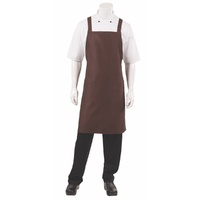Cross Back Bib Apron Chocolate with Twin Patch Pockets - F35-CHO