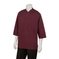 Basic Chefs Jacket 3/4 Sleeve  Merlot Large - JLCL-MER-L Chef Works
