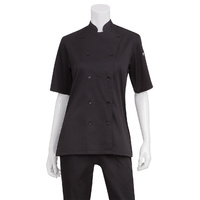 Bistro womens Chefs Shirt Black, Lite weight, short sleeve (size) Chef Works KL150