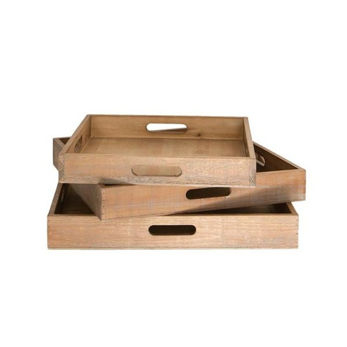 380mm Square wooden Tray set of 3, 65mm deep