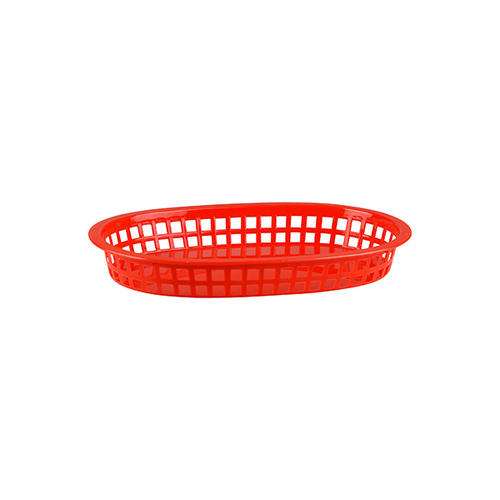 Oval Red Plastic Basket , Large 270x180mm
