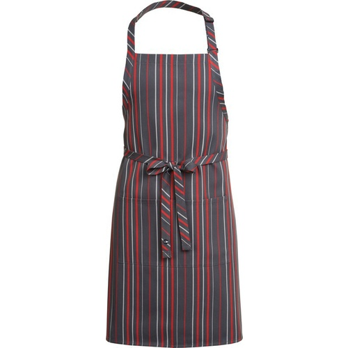 Stripped Bib Apron with Pocket Grey/Red - A500-GCR Chef Works