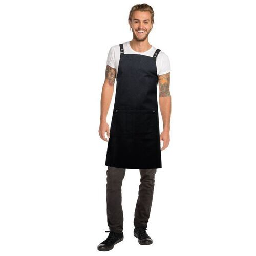 Byron Canvas Cross Over Back Black Bib Apron with black straps