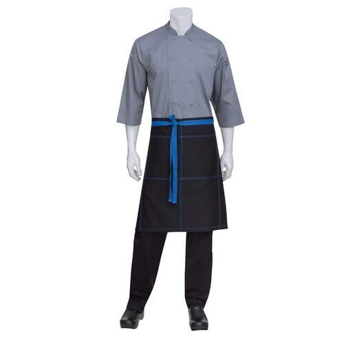 Black Wide 1/2 Half Apron With Contrast Blue Ties And Stitching Chef Works- AW034