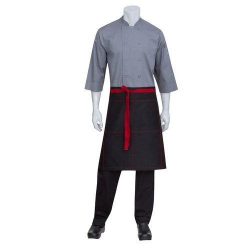Black Wide 1/2 Half Apron With Contrast Red Ties And Stitching Chef Works- AW034