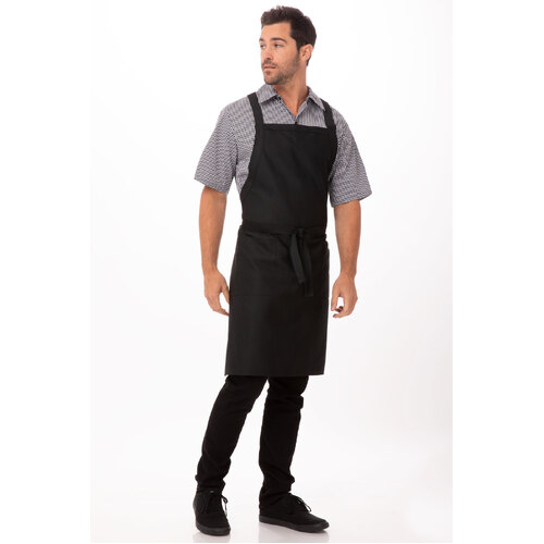 Cross Back Bib Apron Black with Twin Patch Pockets - F35-BLK