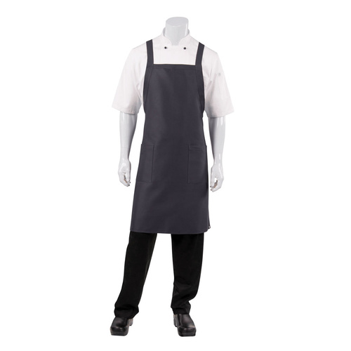 Cross Back Bib Apron Slate with Twin Patch Pockets - F35-SLA