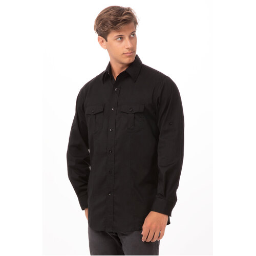 Men's Two-Pocket shirt Black/White/Gray- DPDS-(colour)-(size) Chef Works