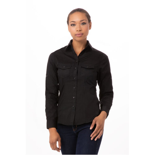 Women's Two-Pocket shirt Black/White/Gray - WPDS-(colour)-(size) Chef Works