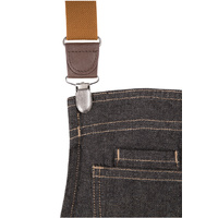 Berkeley Bib Apron Black/Indigo Denim with Cross Over Back