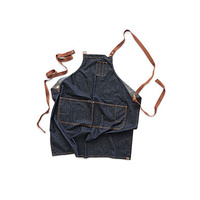 Memphis Cross Over Back Bib Apron - Indigo/Blue