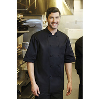 Canberra Chefs Jacket S/S Black Large - CBBS-L Chef Works