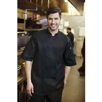 Canberra Chefs Jacket S/S Black Medium - CBBS-S Chef Works