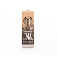 Tall S/S Reusable Straw (4 pack incl brush)