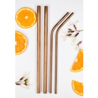 Rose Gold Mixed Straw pack (2 smoothie + 2 drinking straw + brush)
