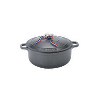 240mm Cast Iron Round French Oven (3.8 litre) Caviar- Chasseur