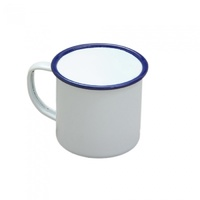 284ml Falcon Enamel Mug, White with Blue Rim 80mm