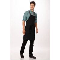 Berkeley Bib Apron Jet/Black Cotton with Cross Over Back Suspenders