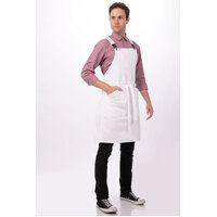 Berkeley Bib Apron White Cotton with Cross Over Back