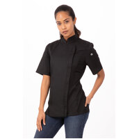 Springfield Womens 2XL Lightweight Chef Works Jacket - Short Sleeved - Black with Zipper - BCWSZ006-BLK